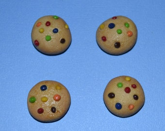 """4  mini m&m cookies for 18"""" dolls such as American Girl and My Generation"""