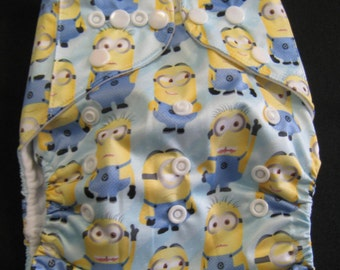 Adjustable Snap Reusable Pocket Cloth Diaper Cover with 2 free inserts Minion Print