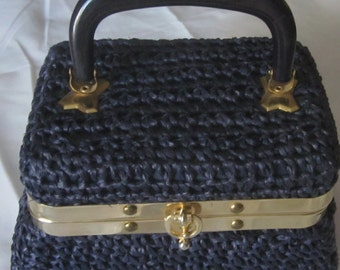 Vintage Made-in-Italy Blue Raffia Purse