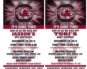 Printable South Carolina Gamecocks College Football Birthday Party Invitation NCAA Ticket Invitation Baby Shower Invitations