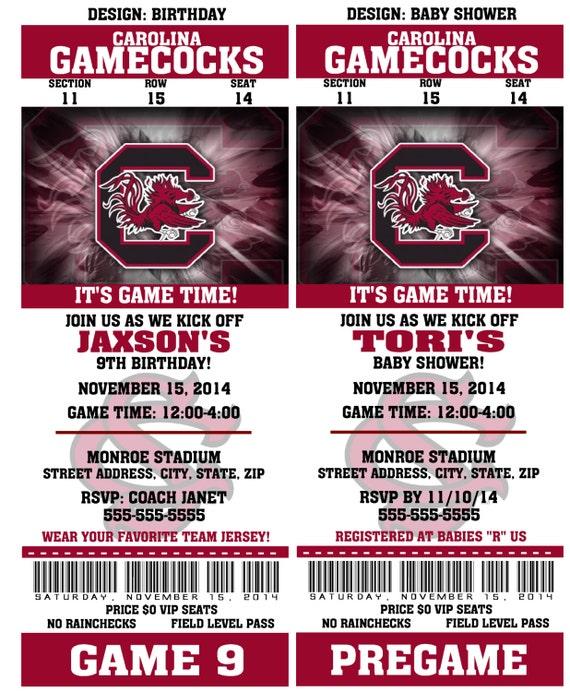 Printable South Carolina Gamecocks College Football Birthday