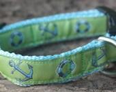 Blue Anchors Away Dog Collar—Adjustable ribbon dog collar