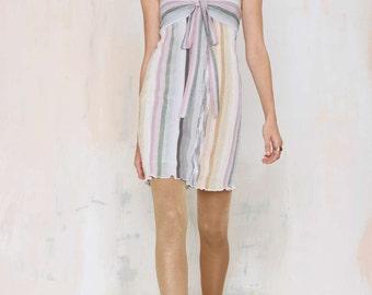 VTG MISSONI Serafina Metallic Knit Strapless Babydoll Mini Dress Sz 4