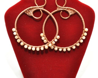 Gemstone Wire Wrapped Hoop Earrings