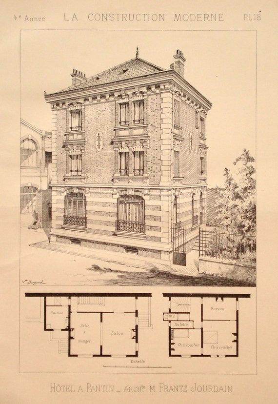 Apartment building 1888 architecture print floor plan for Building plan printing