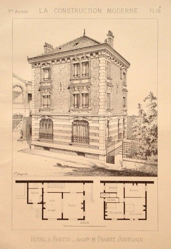 Apartment building 1888 architecture print floor plan Building plan printing
