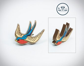 Swallow bird brooch, swallow jewelry wooden swallow bird pin swallow jewelry swallow necklace