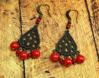 Red Coral Stone Dangle Earrings