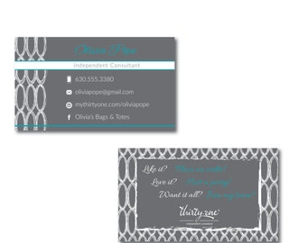 Thirty-One Consultant Business Cards Charcoal Links Inspired Design