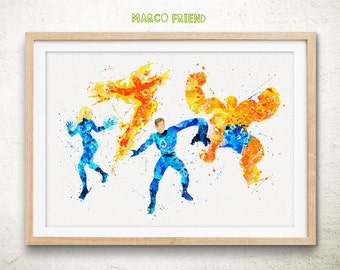 Fantastic Four Superhero Watercolor Art Print Poster - Watercolor Painting - Home Decor - Nursery Decor - Wall Art - Kids Decor - Gift -261