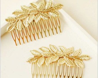Vintage Gold leaf hair comb - Vintage look Hair comb -gold hair comb -Gold leaf hair comb - Bridal Hair pin -bridesmaid hair comb