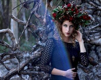 Romantic Forest Queen Headpiece Mythical Flower Crown Art Floral Headdress