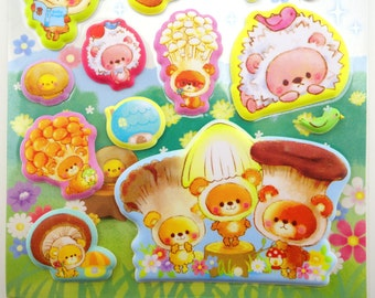 Kawaii mushroom head teddy bear and baby chicks PUFFY stickers - forest fungi bear cubs - button cap yellow chick - mushrooms - cute house