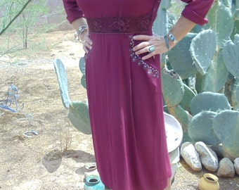 Vintage 1940's Burgundy Rayon Crepe Dress with Rhinestones on Neckline and Pockets