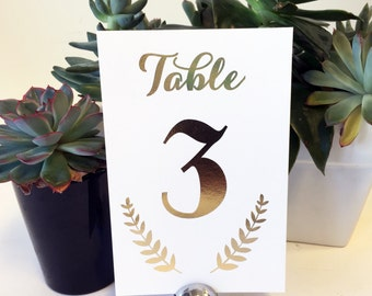 Gold Foil Wedding Table Numbers - Silver Foil Wedding Table Numbers / Custom Wedding Table Signs / Reception Table Numbers