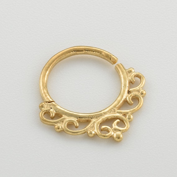 Gold Septum Ring. septum ring 18g. nose ring. septum piercing. septum jewelry. indian septum ring. boho chic jewelry. nose jewelry.