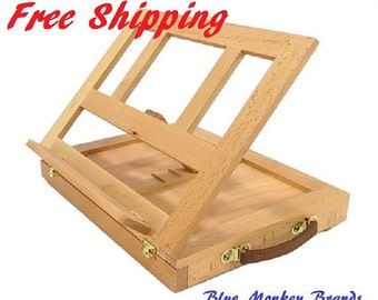 ARTIST DESKTOP EASEL - Wooden Portable Small Storage Shelf Painting Drawing