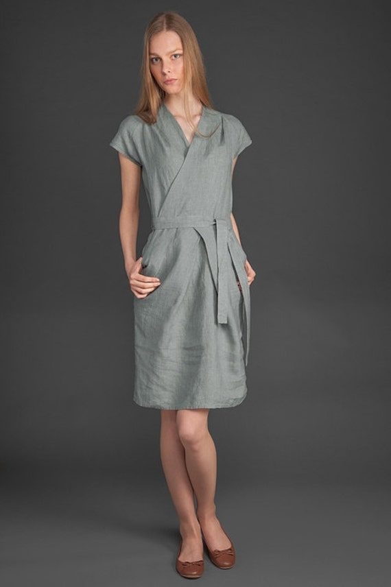 Gray linen dress gray dress for summer women dresses linen