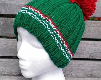 green knit hat knit green beanie green knit winter hat hand knit green winter knit hat green knit beanie green pom pom hat ribbed green hat