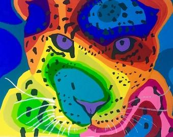 Jaguar Art Print, Animal Art Print, Big Cat Art Print, Modern Jaguar Art, Gouache Painting Print