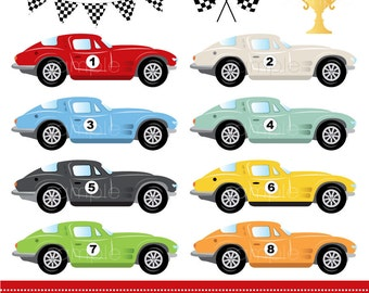Digital Clipart - Race Cars for Scrapbooking, Invitations, Paper crafts, Cards Making, only FOR PERSONAL USE