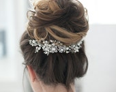Wedding Headpiece Bridal Headpiece Rhinestone Pearl Crystal Hair Comb Decorative Hair Adornment Large Decorative Flower Headpiece