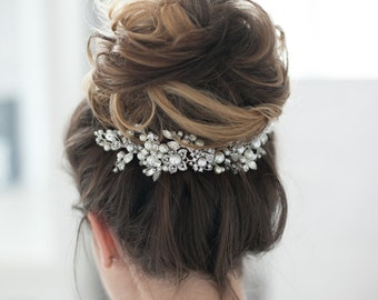 Bridal Headpiece Wedding Headpiece Bridal Rhinestone Crystal Hair Comb Decorative Hair Adornment Large Decorative Flower Statement Headpiece