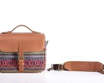 Camera Bag , Leather Camera Bag, Red Camera Case , Camera bag for Dslr, leather and Kilim Camera bag