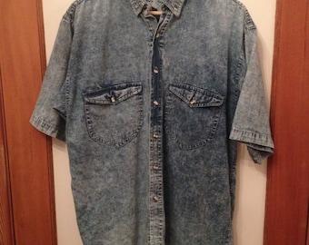 ACID WASH / 80s cotton shirt / throwback top / mens L