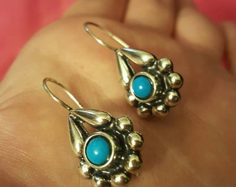 Native American Style Sterling Silver Genuine Stone Turquoise Earrings