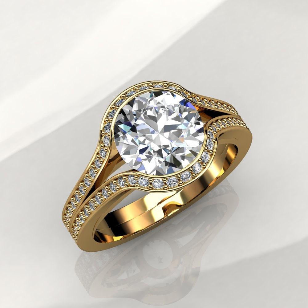 7 5mm Moissanite Engagement Ring Forever Brilliant Moissanite