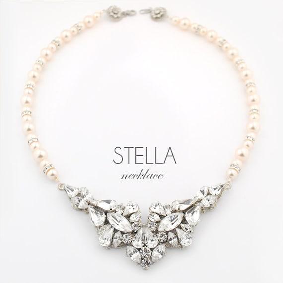 Wedding necklace - bridal jewelry necklace - statement wedding necklace - couture bridal jewelry - pearl necklace - Stella necklace