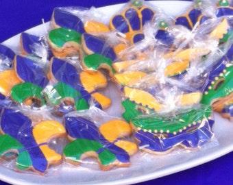 Mardi Gras fleur de lis Cookies - Mardi Gras mask cookies - fluer de lis cookies - Mardi Gras party favors