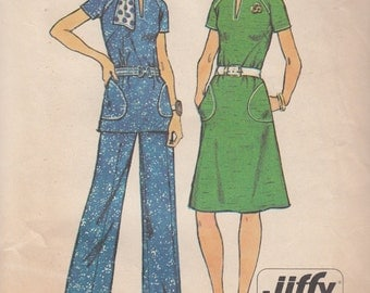 Simplicity 6273 Misses Jiffy Dress or Top & Pants Sewing Pattern - Womens Cloth Sewing Pattern - Uncut Sewing Pattern - Retro Sewing Pattern