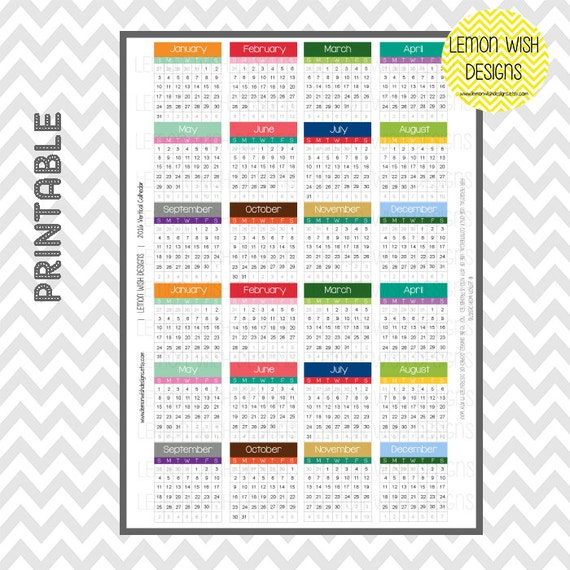 Calendar Vertical List : Weekly calendars vertical layout month by lemonwishdesigns