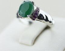 SIZE 5 AFRICAN EMERALD (Nickel Free) 925 Fine S0LID Sterling Silver Ring & Free Worldwide Express Shipping r601