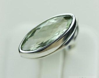 Size 5.5 GREEN AMETHYST PRASIOLITE (Nickel Free) 925 Fine S0LID Sterling Silver Ring & Free Worldwide Express Shipping r1249