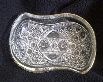 Antique McKee Glass Company-EAPG. Prescut-Fentec Design Clear Glass Relish Dish. 1905 Excellent Condition.