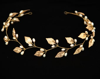 Gold Leaf headband Leaf tiara Leaf headpiece Leaf crown Bridal headpiece Wedding headband Grecian headpiece Woodland wedding  Rustic wedding