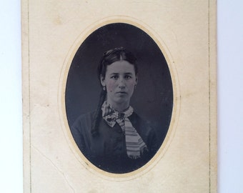 Vintage portrait  tintype of Annabelle V. Wager