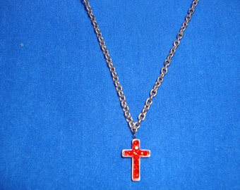 Cross Necklace Red Austrian Crystal 20 Inches in Length-Just Reduced-50 PERCENT OFF Original Price