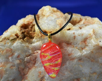fused glass dichroic pendant, tomato red, holiday,  handmade, kiln fired