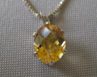 Citrine Checkerboard Specialty Cut Gemstone set in Sterling Silver Pendant With Chain, No. 390