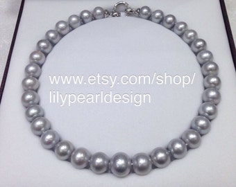 13~14mm gray freshwater pearl necklace