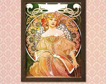 """Print Alphonse Mucha Poster Art Nouveau Print """"Réverie"""" 1897 - Alphonse Mucha Print Art Nouveau Poster Mucha Reproductiont"""