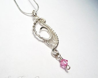 Sterling Silver and Swarovski Crystal Wire Wrapped Pendant