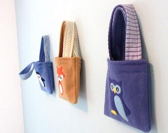 OWL: Children's Fleece, Cotton and Felt Owl Bag