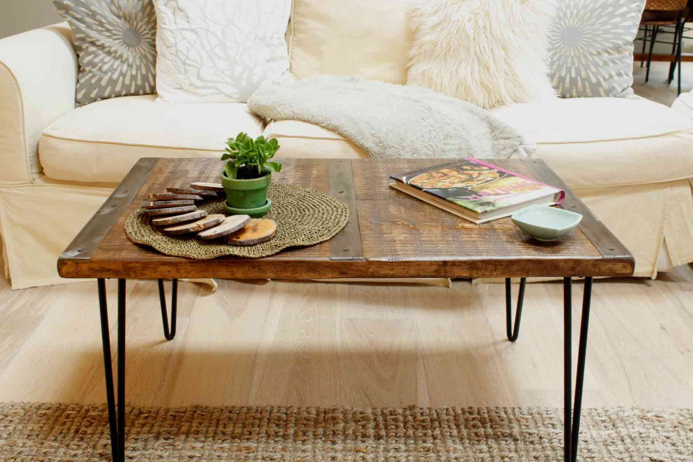 Marvelous photograph of Reclaimed wood coffee table with inlaId metal by ReclaimedWoodUSA with #6A3F1A color and 1422x948 pixels