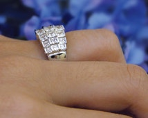 2.40 ct.tw Princess Cut Diamond Simulants Engagement Ring-Cocktail Ring-Bridal Ring-Promise Ring-Anniversary-925 Sterling Silver-R3879