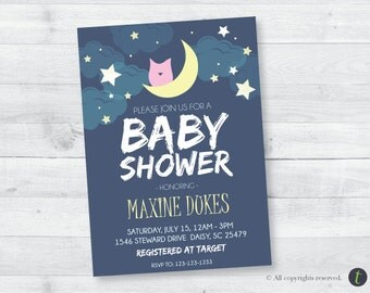 Sleepy Owl Baby Shower Invitation
